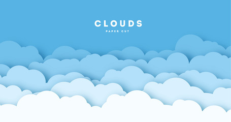 Spoed Fotobehang Blauw Paper cut lot of clouds. Sunny day clouds. Creative paper craft art style, vector illustration.