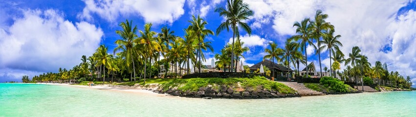 Wall Mural - Splendid panoramic view of tropical beach Belle Mare in Mauritius island
