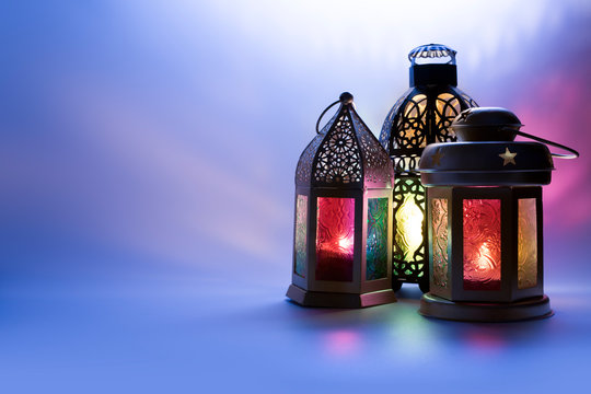 Lanterns photo in low light effect for Eid and Ramadan Greeting cards.