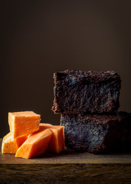 vegan plant based chocolate brownies made with sweet potato vertical