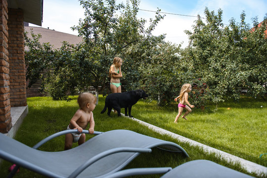 Little girl playing with water in the yard of a house with a black dog