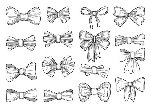 Hand drawn bow. Fashion tie bows accessories sketch doodles tied ribbons. Vintage isolated vector set. Scribble hand drawn classic, white black satin, bowtie silk vector illustration