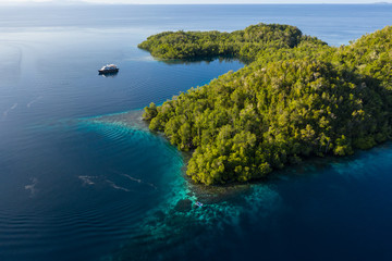 Wall Mural - A live aboard dive boat floats near a remote island in Raja Ampat, Indonesia. This region is thought to be the center of marine biodiversity and is a popular area for diving and snorkeling.