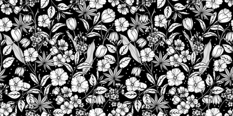 Floral black and white seamless pattern. Spring background from flowers of apple, cherry, sakura, tulips, snowdrops, tree branches and leaves. Vector eps 10 Fotomurales