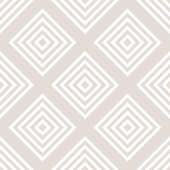 Vector geometric seamless pattern with squares, rhombuses, grid, lattice. Abstract white and beige graphic ornament. Modern linear background. Subtle elegant texture. Repeat design for decor, textile