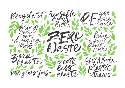 Zero waste handwritten vector letterings set with leaves. Reduce, reuse, recycle, say no to plastic, create less waste.