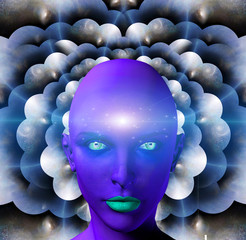 Purple female face on a background with multi-layered spaces. Alien woman