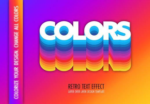 Retro Colors Text Effect Mockup