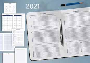 2021 Monthly and Weekly Planner Layout