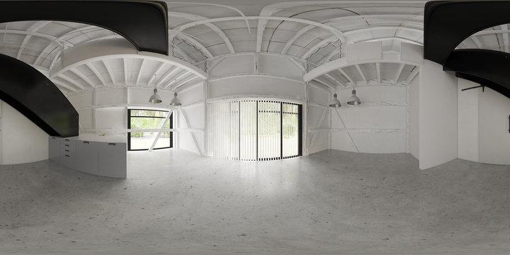 360 panorama of barn house interior 3D illustration