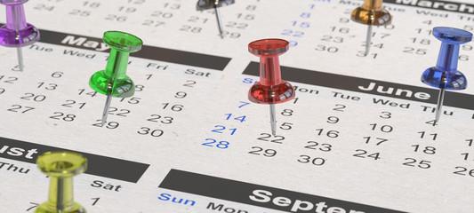 Viele bunte Pinnadeln auf Kalender