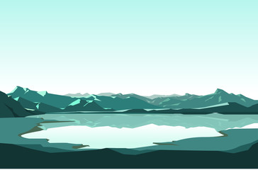 Poster Light blue graphic vector of winter landscape illustration. landscape background
