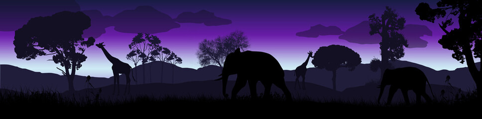 Wild african animals silhouettes in savanna landscape