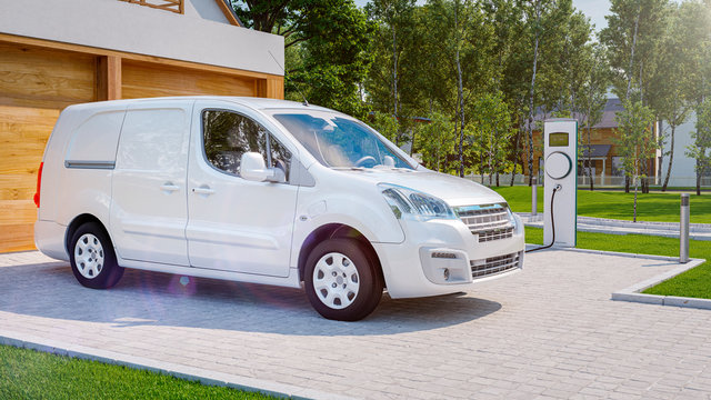 Electric van charging with private home charger 3d rendering