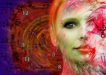 Woman art portrait and numerology