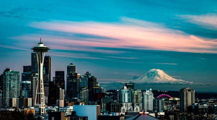 Seattle Sunset Skyline With MT. Rainer from Kerry Parl, Queen Ann IN 2020 Wall mural