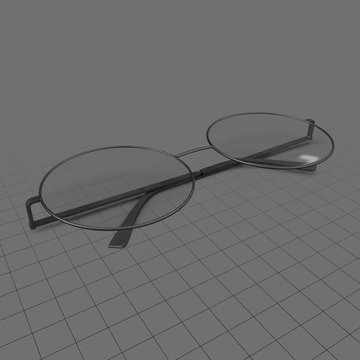 Closed round eyeglasses