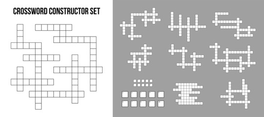 Creative vector illustration of crossword puzzle constructor, squares empty set isolated on background. Art design for magazine and newspaper template. Abstract concept graphic rebus game element
