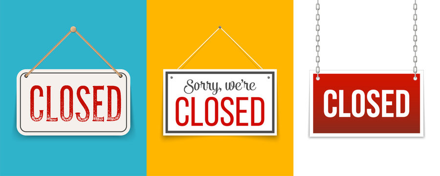 Creative vector illustration sign - sorry we are closed background. Art design closed banner on door store template. Signboard with a rope. Abstract concept for businesses, site, shop services element