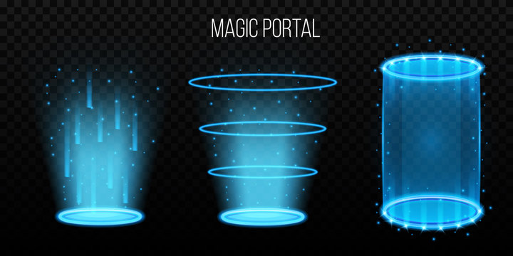 Creative vector illustration of magic portals, hologram teleport, space tunnel isolated on transparent background. Art design portal light, glowing teleport template. Abstract concept, rays element