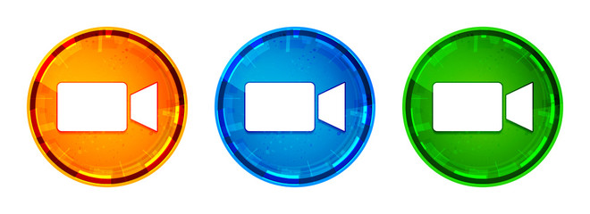 Video camera icon shiny abstract round button set illustration