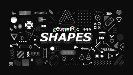 Set of neo memphis geometric shapes. Trendy graphics element for your design. Vaporwave style, universal geometric shapes and elements on dark background. Vector memphis elements set