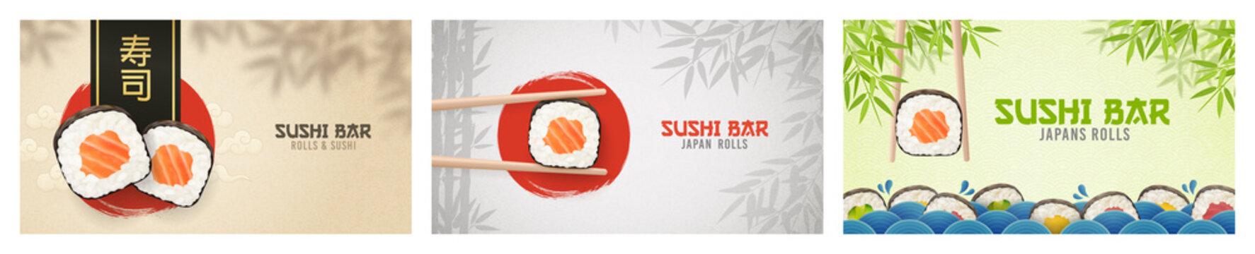 Asian Food poster. Sushi ads. Poster of Sushi Restaurant. Vertical flyer. Realistic vector illustration.