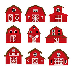 barn vector set collection graphic clipart design