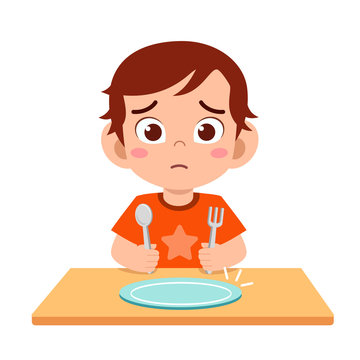cute little kid boy feel hungry want to eat