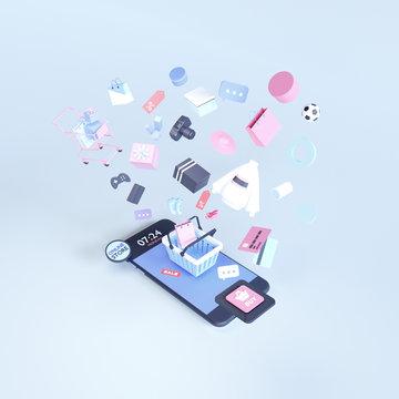 Shopping on-line. Online store on website or mobile application. 3d rendering background. digital marketing shop