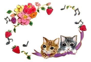 お花フレームと2匹の子猫