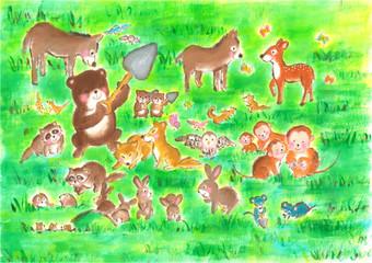 種を蒔く、森の動物たち