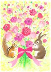 うさぎとりすから花束のプレゼント