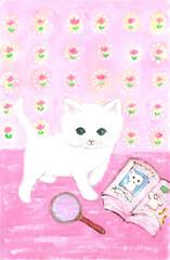 雑誌モデルの白猫ちゃん。紙面をチェック。