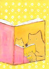 「犬の親子が本を読んでいる」という本を読んでいる犬の親子