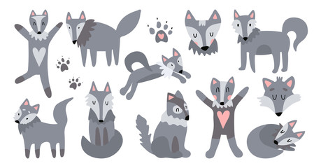 Vector set of illustrations of cute wolves. The good wolf sleeps, jumps, hugs, runs, sits. Suitable for animation, design of children's textiles, printing on children's toys.