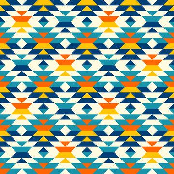 Bohemian large aztec diamonds blue pattern