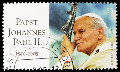 Postage stamp printed in Germany shows Pope John Paul II, Commemoration serie, circa 2005 Fotomurales