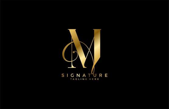 professional monogram signature letter M logotype