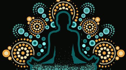 Aboriginal dot art vector painting, Meditation concept
