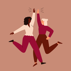 Two women jump and high-five each other. Friendship and teamwork of girls. Vector concept of the female's empowerment movement.