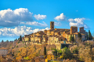Colle Val d'Elsa town skyline, church and panoramic view. Siena, Tuscany, Italy