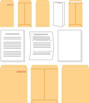 封筒と書類のイラストセット