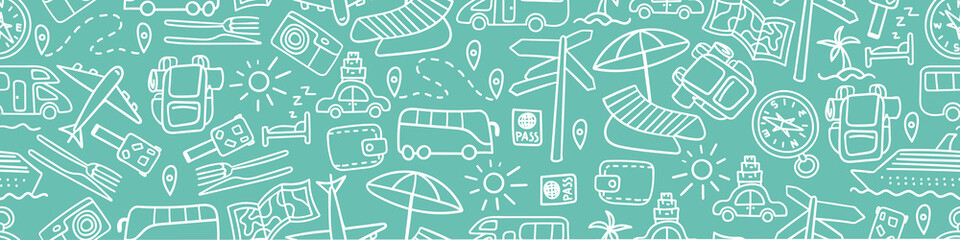 Horizontal seamless border with hand drawn travel doodles. Vacation background. Vector illustration. Fotobehang