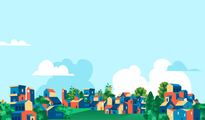 Poster Light blue Panoramica città, villaggio con case e alberi verdi, sfondo cielo blu con nuvole - Illustrazione vettoriale