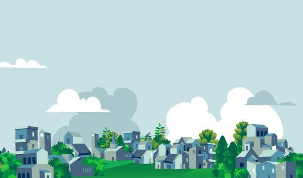 Panoramica quartiere urbano, città, villaggio con case e alberi verdi - Illustrazione vettoriale