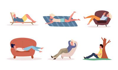 Fototapeta People enjoying rest in armchairs, sunbeds, on floor vector illustration obraz