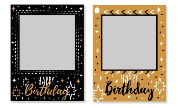 Happy birthday black and gold photo frames set vector illustration. Album templates for memory of celebration cartoon design. Festive party concept