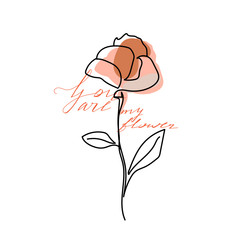 Abstract one line flower with pastel shapes and lettering. Fashion typography slogan design