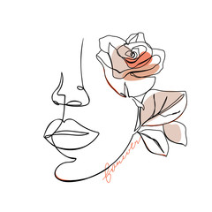 Trendy abstract one line woman face with rose flower and lettering. Fashion typography slogan design